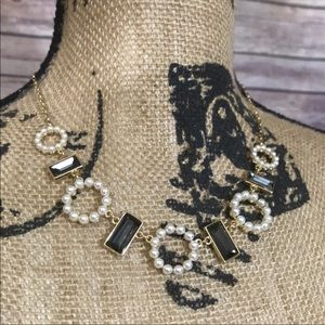 INC Faux Pearl Gold Tone Jewel Necklace